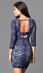 Image of royal blue lace fitted short dress with back cutout. Style: EM-EJS-1714-420 Back Image