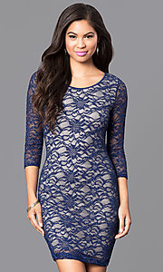 Image of royal blue lace fitted short dress with back cutout. Style: EM-EJS-1714-420 Front Image