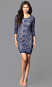 Image of royal blue lace fitted short dress with back cutout. Style: EM-EJS-1714-420 Detail Image 1