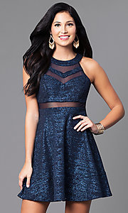 Image of a-line short navy blue glitter party dress. Style: EM-DHX-1356-483 Front Image