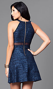 Image of a-line short navy blue glitter party dress. Style: EM-DHX-1356-483 Back Image