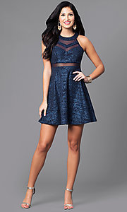 Image of a-line short navy blue glitter party dress. Style: EM-DHX-1356-483 Detail Image 1