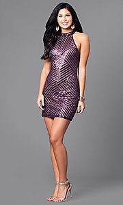 Image of short fitted sequin party dress with cut-out back. Style: EM-DIA-2819-534 Detail Image 1