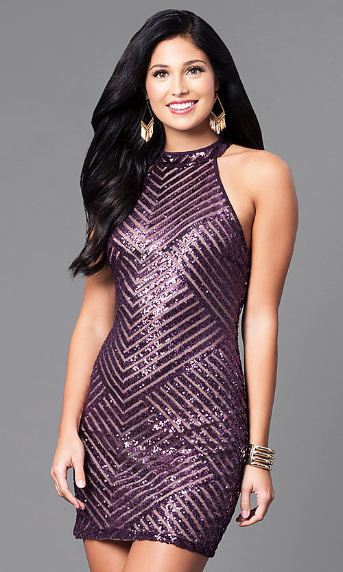 Image of short fitted sequin party dress with cut-out back. Style: EM-DIA-2819-534 Front Image