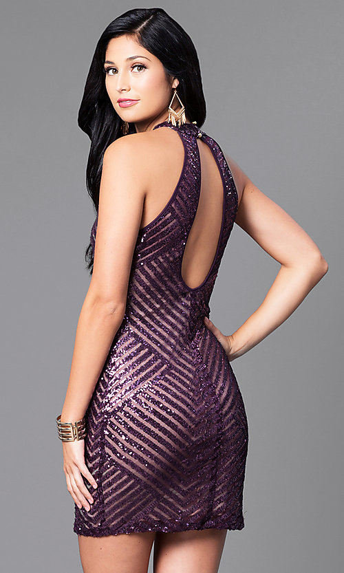 Image of short fitted sequin party dress with cut-out back. Style: EM-DIA-2819-534 Back Image