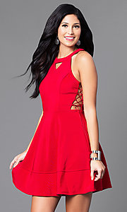 Image of short red a-line dress with lace-up sides. Style: EM-ELJ-1027-600 Front Image