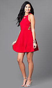 Image of short red a-line dress with lace-up sides. Style: EM-ELJ-1027-600 Detail Image 1