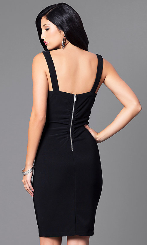 Image of black knee-length party dress with sheer sides. Style: EM-ESI-1027-001 Back Image