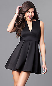 Image of black v-neck sleeveless party dress. Style: EM-EVM-1003-001 Front Image