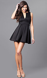 Image of black v-neck sleeveless party dress. Style: EM-EVM-1003-001 Detail Image 1