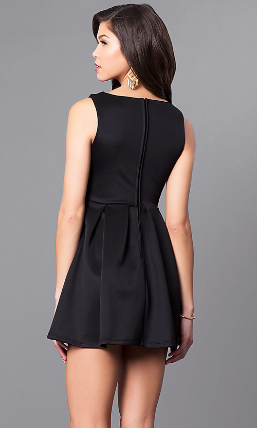 Image of black v-neck sleeveless party dress. Style: EM-EVM-1003-001 Back Image