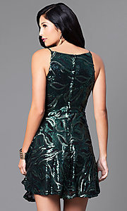 Image of short sequin party dress with short spaghetti straps. Style: EM-ESS-2740-024 Back Image