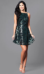 Image of short sequin party dress with short spaghetti straps. Style: EM-ESS-2740-024 Detail Image 1