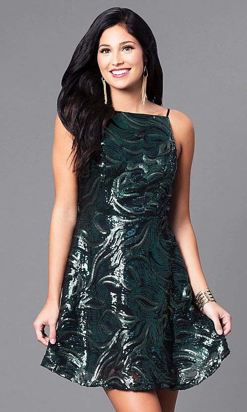 Image of short sequin party dress with short spaghetti straps. Style: EM-ESS-2740-024 Front Image