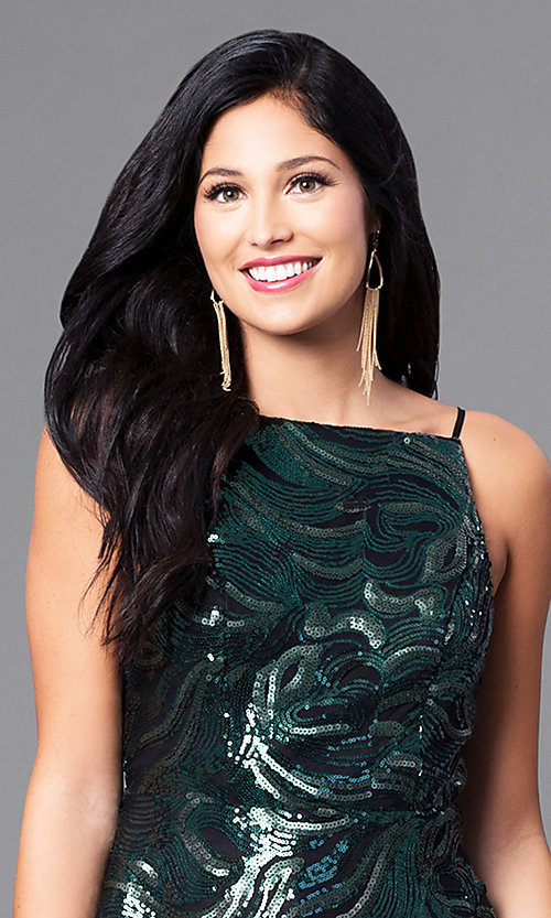 Image of short sequin party dress with short spaghetti straps. Style: EM-ESS-2740-024 Detail Image 2