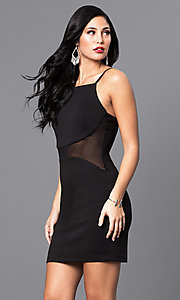 Short Black Holiday Party Dress with Sheer Waist