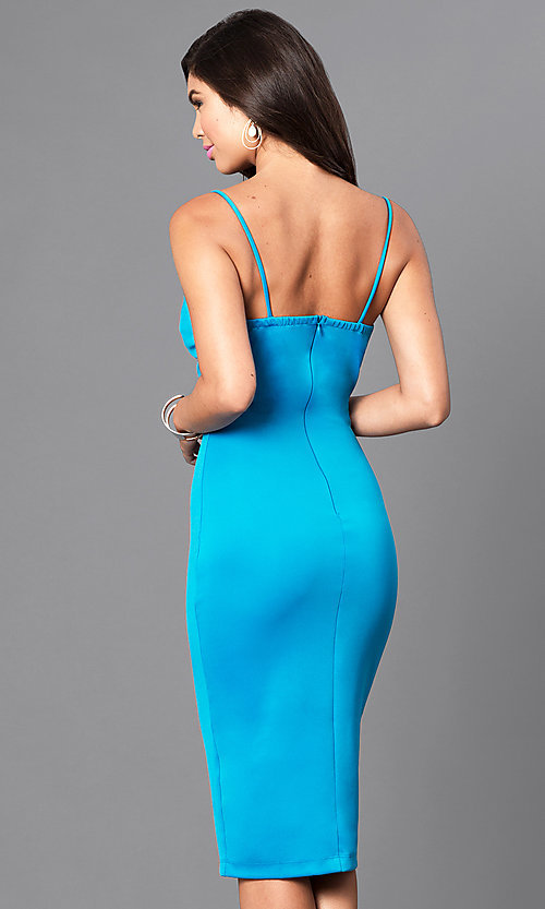 Image of deep v-neck spaghetti-strap knee-length dress. Style: MD-D14967OA Back Image