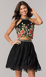 Black Embroidered Two Piece Homecoming Dress