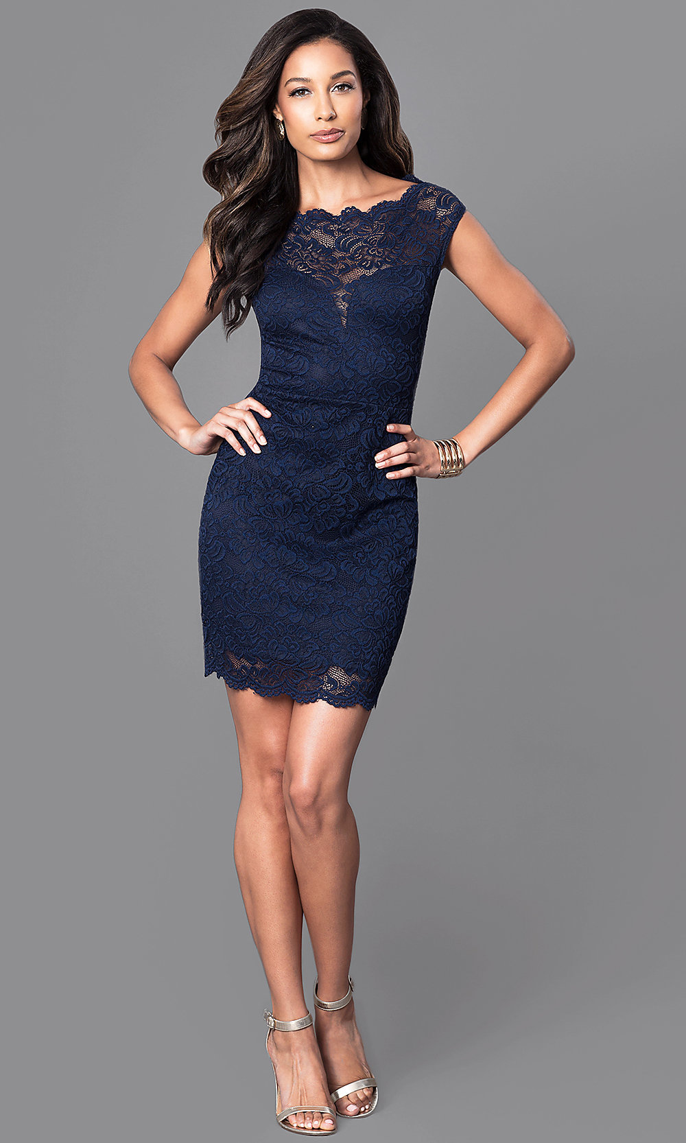 Cheap Navy Blue Lace Semi-Formal Dress - PromGirl
