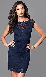 Semi-Formal Lace Navy Blue Dress with Cap Sleeves