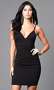 Image of fitted short ruched v-neck homecoming party dress. Style: SY-ID3537VP Front Image