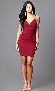 Image of fitted short ruched v-neck homecoming party dress. Style: SY-ID3537VP Detail Image 2
