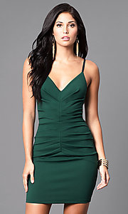 Image of fitted short ruched v-neck homecoming party dress. Style: SY-ID3537VP Detail Image 3