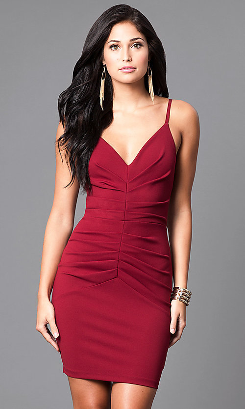 Image of fitted short ruched v-neck homecoming party dress. Style: SY-ID3537VP Detail Image 1
