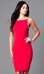 Image of knee-length fitted open-back homecoming party dress. Style: SY-ID3630EP Front Image