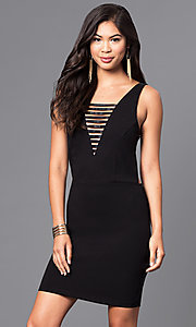 Short Black Party Dress with Multi-Strap V-Neckline