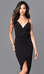V-Neck Mock-Wrap Wedding-Guest Dress with Ruching