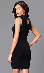 Image of short bodycon mini party dress with cut outs. Style: SY-ID3877AP Back Image