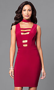Image of short bodycon mini party dress with cut outs. Style: SY-ID3877AP Front Image