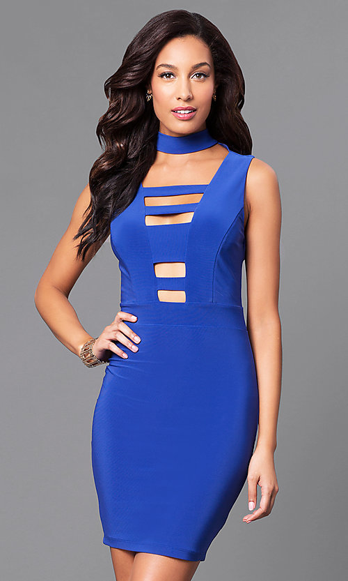 Image of short bodycon mini party dress with cut outs. Style: SY-ID3877AP Detail Image 1