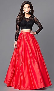 Two Piece Red and Black Floor Length Prom Dress