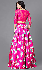 Image of two-piece sleeved print prom dress with pockets. Style: DQ-9452 Back Image
