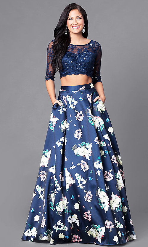 Image of two-piece sleeved print prom dress with pockets. Style: DQ-9452 Front Image