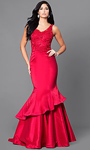 Image of v-neck mermaid formal prom dress 2017 with lace Style: DQ-9457 Front Image