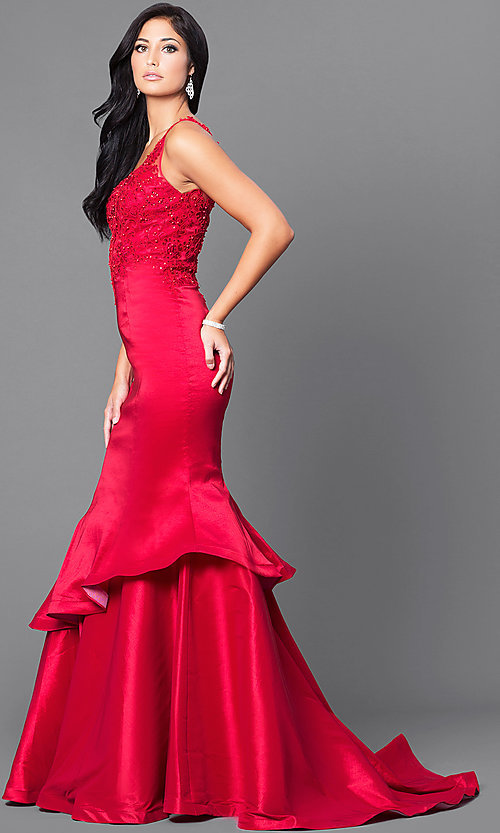 Image of v-neck mermaid formal prom dress 2017 with lace Style: DQ-9457 Detail Image 1