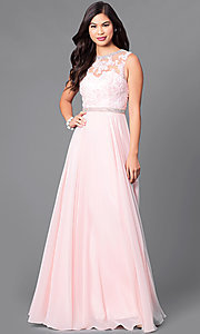 Image of high-neck sleeveless long formal prom dress. Style: DQ-9458 Detail Image 1
