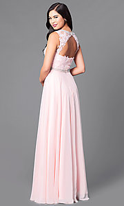 Image of high-neck sleeveless long formal prom dress. Style: DQ-9458 Back Image