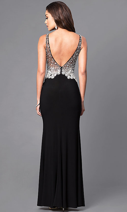 Image of sheer v-neck prom dress with jeweled bodice. Style: DQ-9470 Back Image