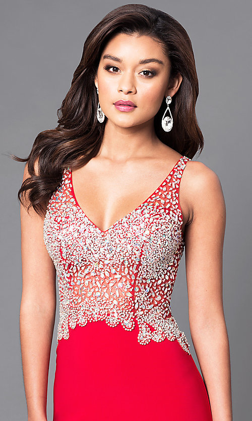 Image of sheer v-neck prom dress with jeweled bodice. Style: DQ-9470 Detail Image 2