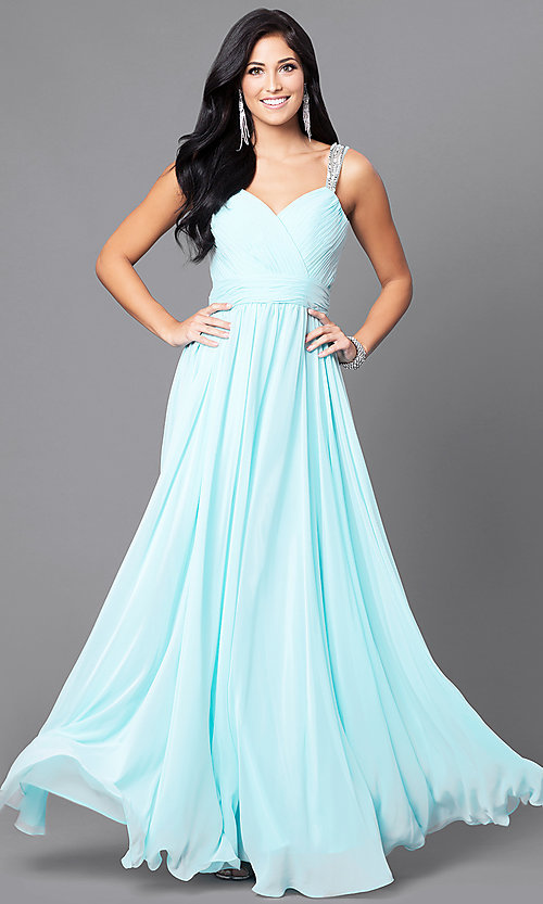 Image of long surplice v-neck corset-bodice prom dress. Style: DQ-9471 Detail Image 3