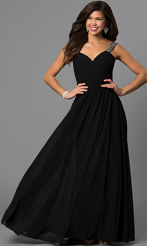 Long V-Neck Corset-Bodice Prom Dress - PromGirl