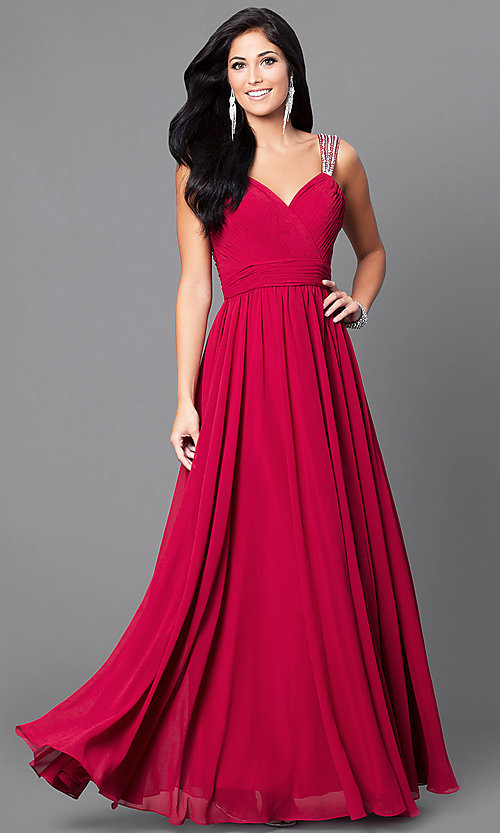 Image of long surplice v-neck corset-bodice prom dress. Style: DQ-9471 Detail Image 1