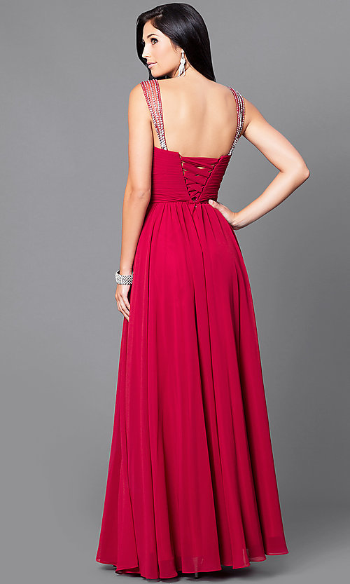 Image of long surplice v-neck corset-bodice prom dress. Style: DQ-9471 Back Image