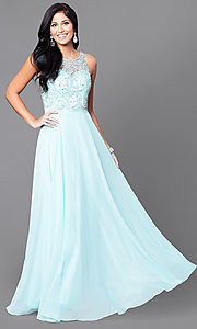 Image of open-back illusion long prom dress with beaded bodice. Style: DQ-9474 Detail Image 1