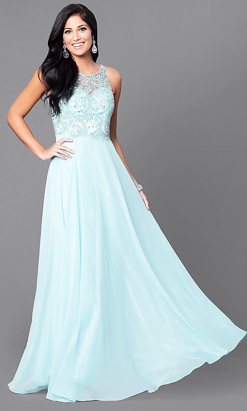 Image of open-back illusion long prom dress with beaded bodice. Style: DQ-9474 Detail Image 2