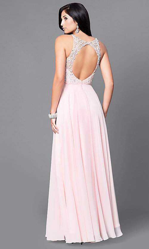 Image of open-back illusion long prom dress with beaded bodice. Style: DQ-9474 Back Image